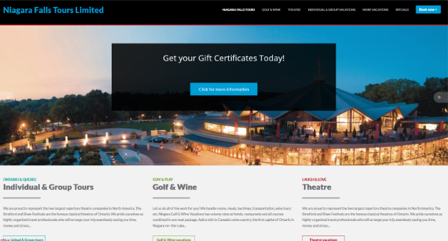 Web Design Ottawa - Niagara Falls Tours Limited